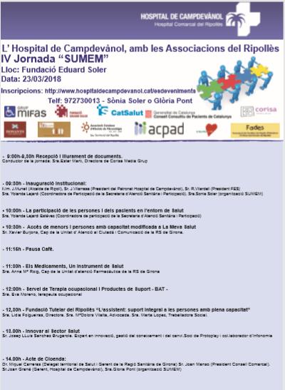 """el dia 23 serem presents a la IV  Jornada de """"SUMEM""""  moltes gràcies"""