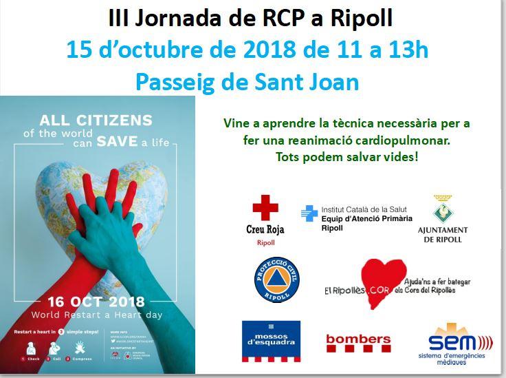 III Jornada de RCP a Ripoll, 15 d'octubre de 2018, us hi esperem, gràcies, suspès per el temps