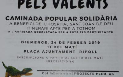 col.laborem amb la caminada popular solidària a benefici del l' Hospital Sant Joan de Deu  dia 24 de febrer