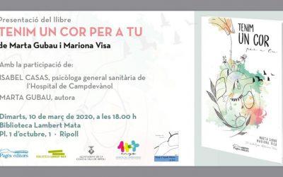 Ens sap greu comunicar-vos que, per motius de salut, s'ha hagut d'anul•lar la presentació del llibre 'Tenim un cor per a tu',de  @martagubau , prevista per aquesta tarda a #Ripoll   @BiblioRipoll l Col·laboració en la presentació del llibre, TENIM UN COR PER TU, de Marta Gubau i Mariona Visa,  gràcies